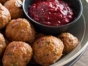 Turkey Meatballs with Cranberry BBQ Sauce